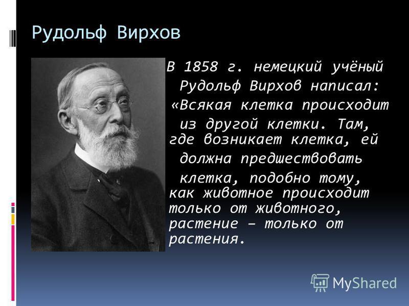 Рудольф Вирхов В 1858 г. немецкий учёный Рудольф Вирхов написал: «Всякая клетка происходит из другой клетки. Там, где возникает клетка, ей должна предшествовать клетка, подобно тому, как животное происходит только от животного, растение – только от р