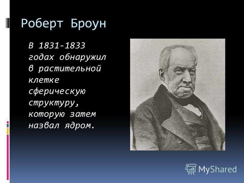 Роберт Броун В 1831-1833 годах обнаружил в растительной клетке сферическую структуру, которую затем назвал ядром.