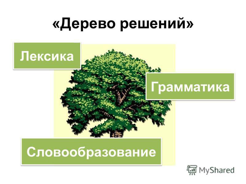 «Дерево решений» Лексика Грамматика Словообразование