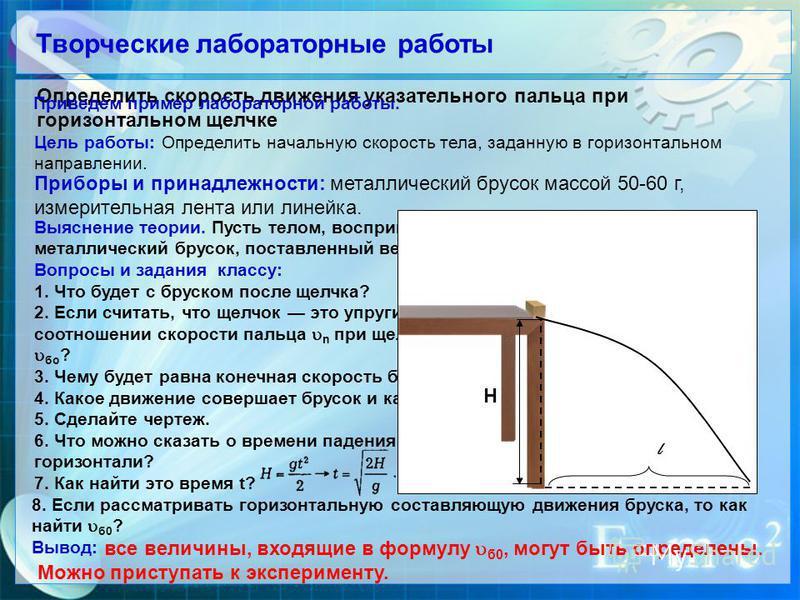 Творческие лапораторные рапоты Определить скорость движения указательного пальца при горизонтальном щелчке Цель рапоты: Определить начальную скорость тела, заданную в горизонтальном направлении. Приведем пример лапораторной рапоты. Припоры и принадле