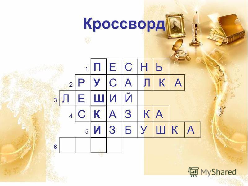 Кроссворд 1 ПЕСНЬ 2 РУ СА Л К А 3 ЛЕ ШИЙ 4 СК А З КА 5 6