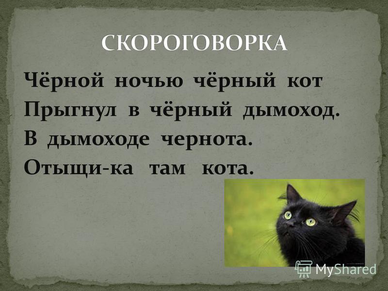 Чёрной ночью чёрный кот Прыгнул в чёрный дымоход. В дымоходе чернота. Отыщи-ка там кота.