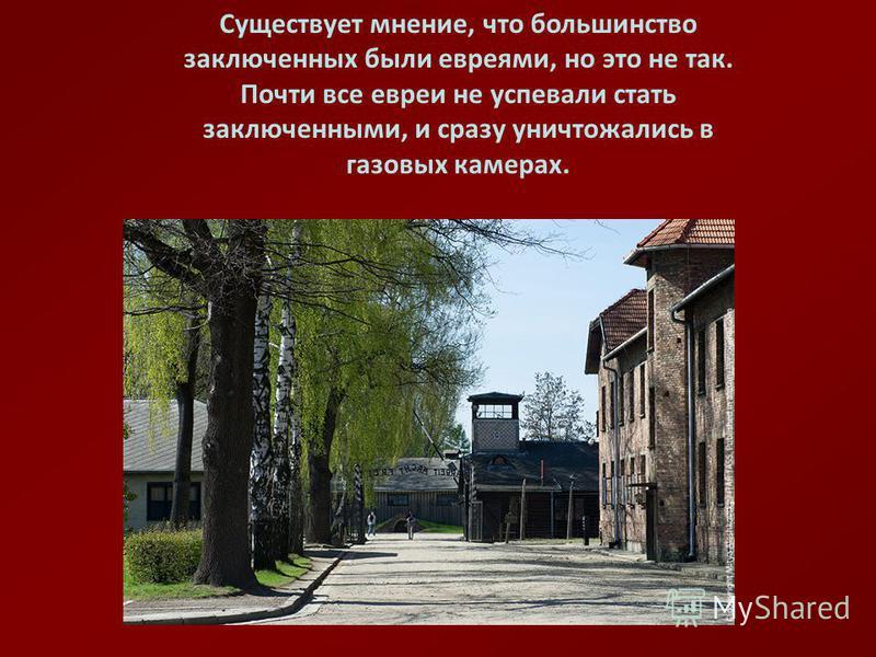 Существует мнение, что большинство заключенных были евреями, но это не так. Почти все евреи не успевали стать заключенными, и сразу уничтожались в газовых камерах.