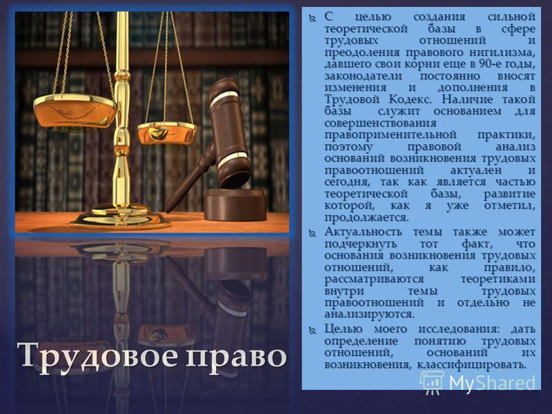 Трудовое право С целью создания сильной теоретической базы в сфере трудовых отношений и преодоления правового нигилизма, давшего свои корни еще в 90-е годы, законодатели постоянно вносят изменения и дополнения в Трудовой Кодекс. Наличие такой базы сл