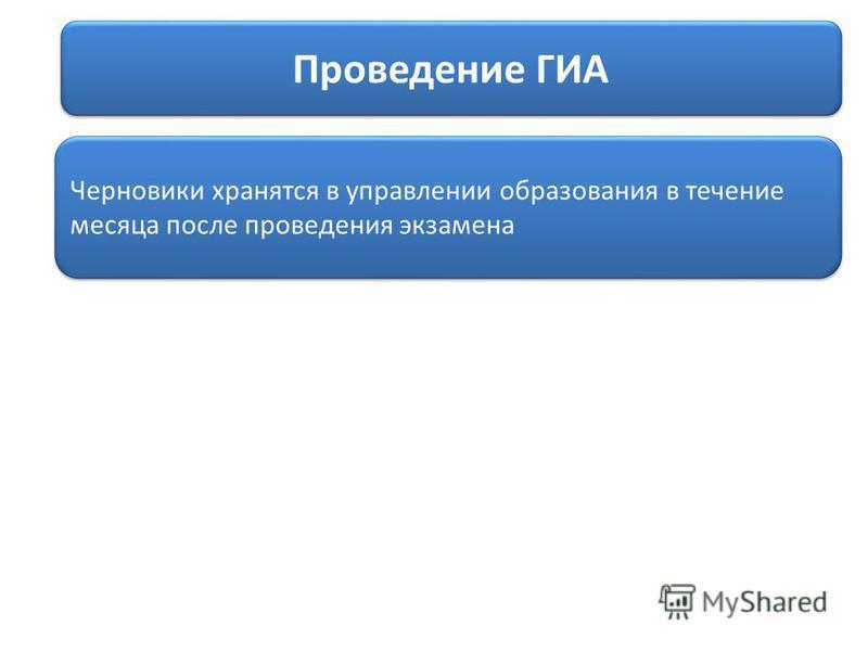 Проведение ГИА Черновики хранятся в управлении образования в течение месяца после проведения экзамена