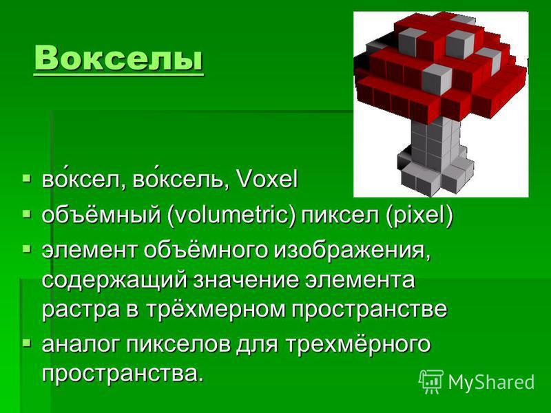 Вокселы во́ксел, во́ксель, Voxel во́ксел, во́ксель, Voxel объёмный (volumetric) пиксел (pixel) объёмный (volumetric) пиксел (pixel) элемент объёмного изображения, содержащий значение элемента растра в трёхмерном пространстве элемент объёмного изображ