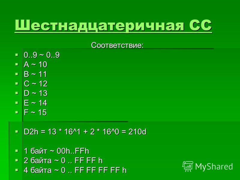 Шестнадцатеричная СС Шестнадцатеричная СССоответствие: 0..9 ~ 0..9 0..9 ~ 0..9 A ~ 10 A ~ 10 B ~ 11 B ~ 11 C ~ 12 C ~ 12 D ~ 13 D ~ 13 E ~ 14 E ~ 14 F ~ 15 F ~ 15 D2h = 13 * 16^1 + 2 * 16^0 = 210d D2h = 13 * 16^1 + 2 * 16^0 = 210d 1 байт ~ 00h..FFh 1