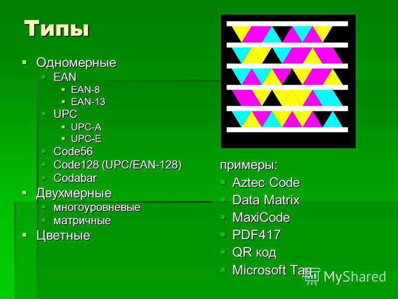 Типы Одномерные Одномерные EAN EAN EAN-8 EAN-8 EAN-13 EAN-13 UPC UPC UPC-A UPC-A UPC-E UPC-E Code56 Code56 Code128 (UPC/EAN-128) Code128 (UPC/EAN-128) Codabar Codabar Двухмерные Двухмерные многоуровневые многоуровневые матричные матричные Цветные Цве