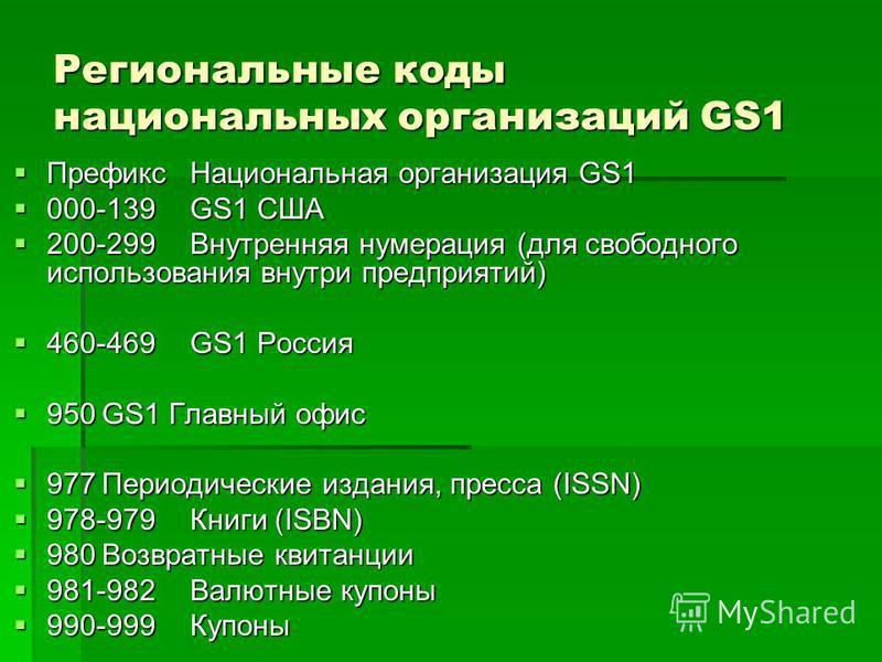 Региональные коды национальных организаций GS1 Префикс Национальная организация GS1 Префикс Национальная организация GS1 000-139GS1 США 000-139GS1 США 200-299Внутренняя нумерация (для свободного использования внутри предприятий) 200-299Внутренняя нум