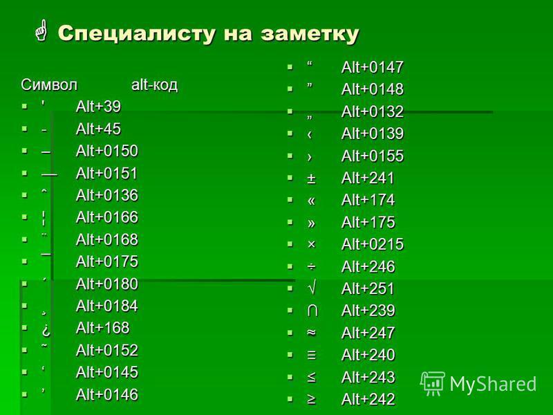 Специалисту на заметку Специалисту на заметку Символalt-код 'Alt+39 'Alt+39 -Alt+45 -Alt+45 –Alt+0150 –Alt+0150 Alt+0151Alt+0151 ˆAlt+0136 ˆAlt+0136 ¦Alt+0166 ¦Alt+0166 ¨Alt+0168 ¨Alt+0168 ¯Alt+0175 ¯Alt+0175 ´Alt+0180 ´Alt+0180 ¸Alt+0184 ¸Alt+0184 ¿