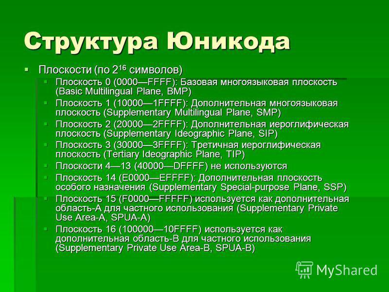 Структура Юникода Плоскости (по 2 16 символов) Плоскости (по 2 16 символов) Плоскость 0 (0000FFFF): Базовая многоязыковая плоскость (Basic Multilingual Plane, BMP) Плоскость 0 (0000FFFF): Базовая многоязыковая плоскость (Basic Multilingual Plane, BMP
