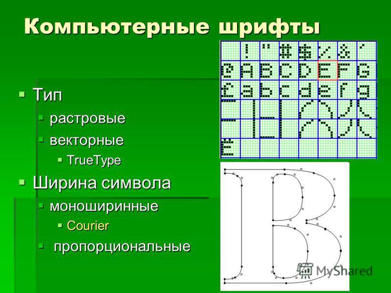 Компьютерные шрифты Тип Тип растровые растровые векторные векторные TrueType TrueType Ширина символа Ширина символа моноширинные моноширинные Courier Courier пропорциональные пропорциональные