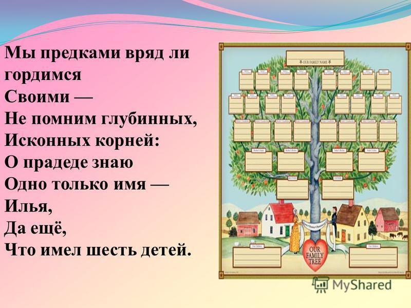 Мы предками вряд ли гордимся Своими Не помним глубинных, Исконных корней: О прадеде знаю Одно только имя Илья, Да ещё, Что имел шесть детей.