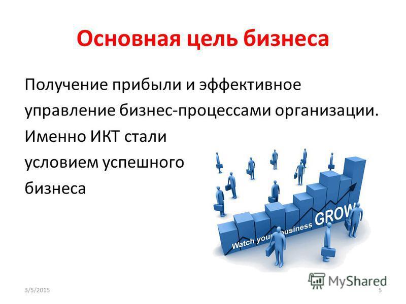 Основная цель бизнеса Получение прибыли и эффективное управление бизнес-процессами организации. Именно ИКТ стали условием успешного бизнеса 3/5/20155