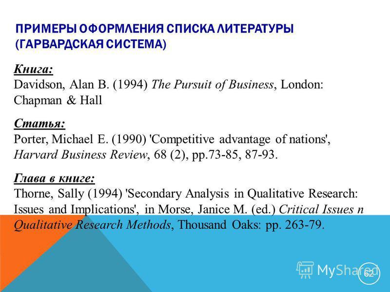 ПРИМЕРЫ ОФОРМЛЕНИЯ СПИСКА ЛИТЕРАТУРЫ (ГАРВАРДСКАЯ СИСТЕМА) Книга: Davidson, Alan B. (1994) The Pursuit of Business, London: Chapman & Hall Статья: Porter, Michael E. (1990) 'Competitive advantage of nations', Harvard Business Review, 68 (2), pp.73-85
