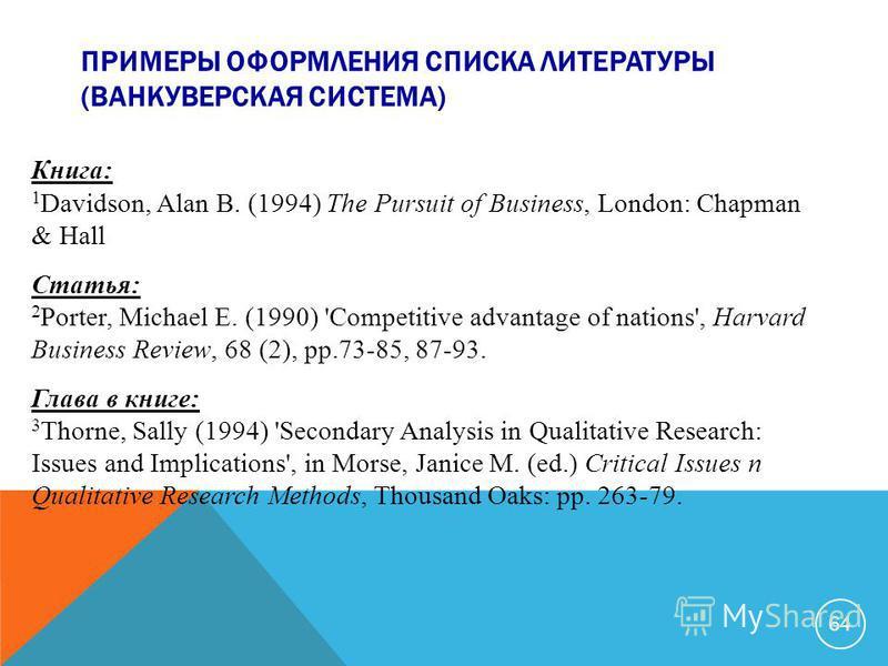 ПРИМЕРЫ ОФОРМЛЕНИЯ СПИСКА ЛИТЕРАТУРЫ (ВАНКУВЕРСКАЯ СИСТЕМА) Книга: 1 Davidson, Alan B. (1994) The Pursuit of Business, London: Chapman & Hall Статья: 2 Porter, Michael E. (1990) 'Competitive advantage of nations', Harvard Business Review, 68 (2), pp.