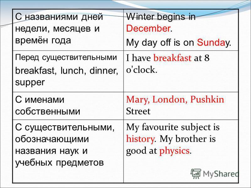 С названиями дней недели, месяцев и времён года Winter begins in December. My day off is on Sunday. Перед существительными breakfast, lunch, dinner, supper I have breakfast at 8 o'clock. С именами собственными Mary, London, Pushkin Street С существит