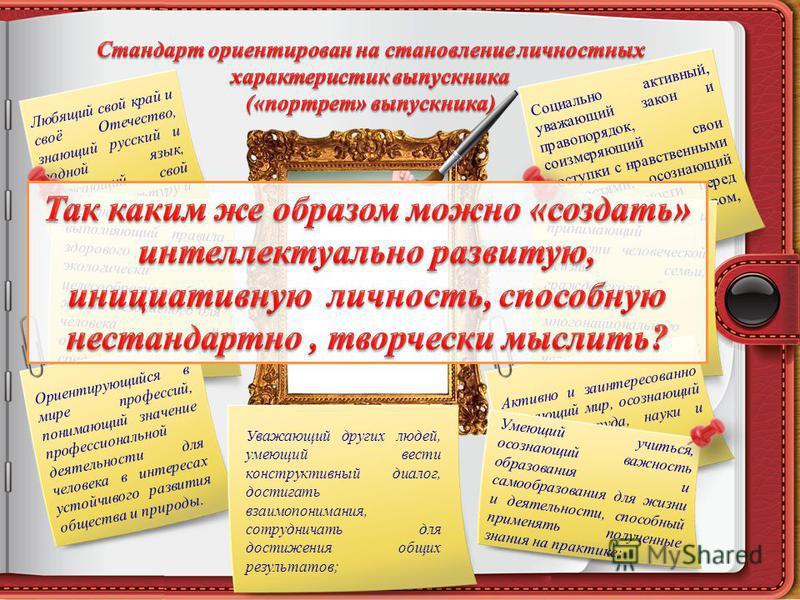 Любящий свой край и своё Отечество, знающий русский и родной язык, уважающий свой народ, его культуру и духовные традиции; Осознанно выполняющий правила здорового и экологически целесообразного образа жизни, безопасного для человека и окружающей его