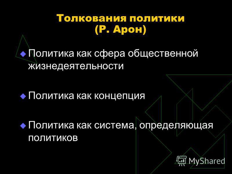 Толкования политики (Р. Арон) Политика как сфера общественной жизнедеятельности Политика как концепция Политика как система, определяющая политиков