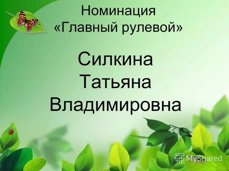 Номинация «Главный рулевой» Силкина Татьяна Владимировна