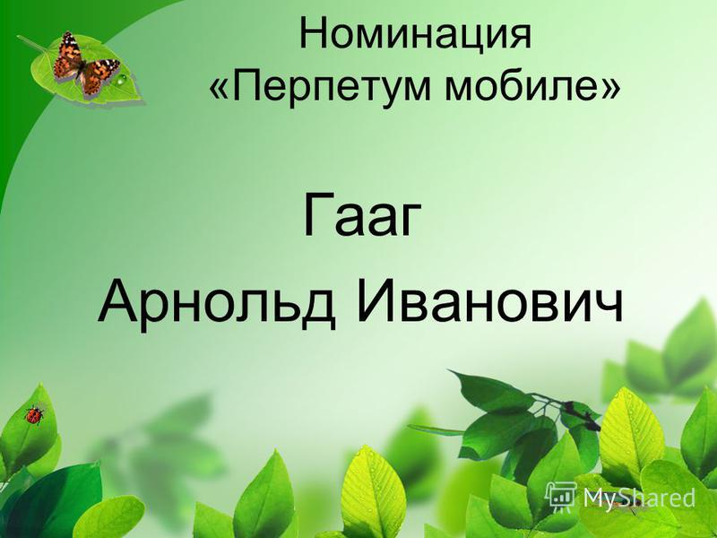 Номинация «Перпетум мобиле» Гааг Арнольд Иванович