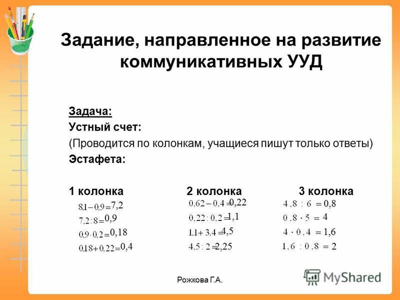 Задание, направленное на развитие коммуникативных УУД Задача: Устный счет: (Проводится по колонкам, учащиеся пишут только ответы) Эстафета: 1 колонка 2 колонка 3 колонка 7,2 0,9 0,18 0,4 0,22 1,1 4,5 2,25 0,8 4 1,6 2 Рожкова Г.А.