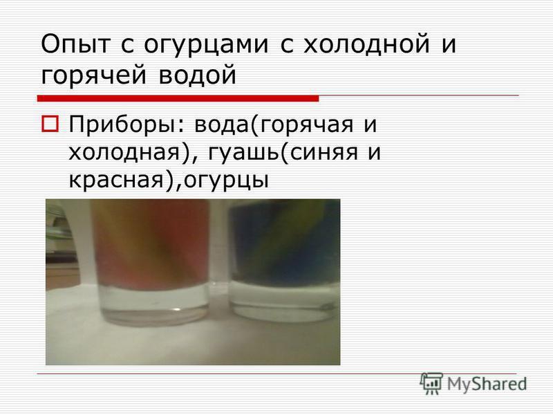 Опыт с огурцами с холодной и горячей водой Приборы: вода(горячая и холодная), гуашь(синяя и красная),огурцы