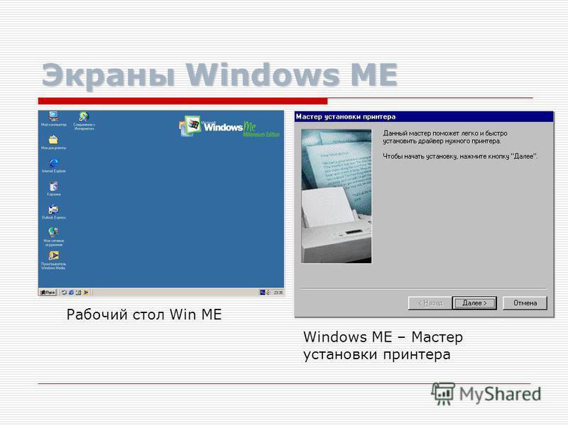 Windows ME Устанавливаемая «поверх» Windows 98, ОС Windows ME (Millennium Edition), во многом предвосхищала появление Windows 2000, но принципиально не изменила Win 98, делая упор на активное использование всевозможных медийных приложений (прослушива