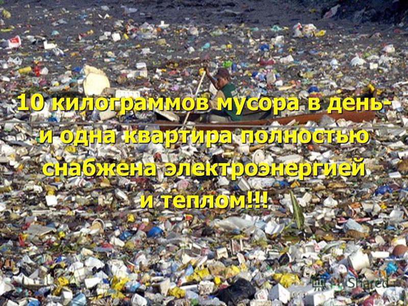 10 килограммов мусора в день- и одна квартира полностью снабжена электроэнергией и теплом!!!