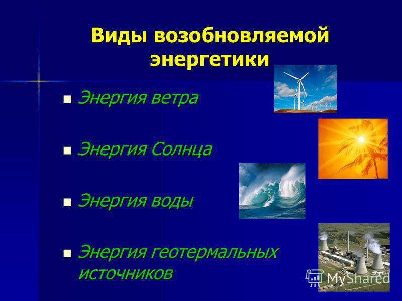 Виды возобновляемой энергетики Энергия ветра Энергия ветра Энергия Солнца Энергия Солнца Энергия воды Энергия воды Энергия геотермальных источников Энергия геотермальных источников