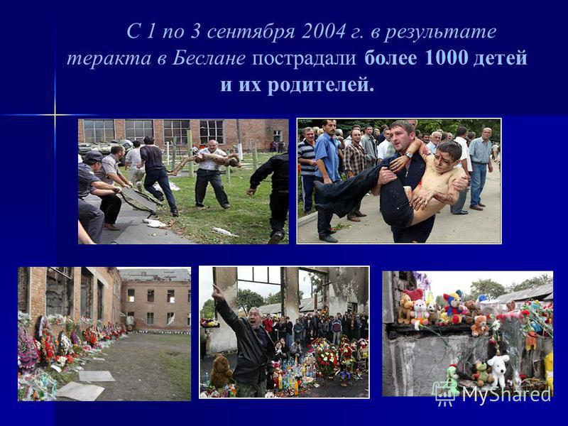 С 1 по 3 сентября 2004 г. в результате теракта в Беслане пострадали более 1000 детей и их родителей.