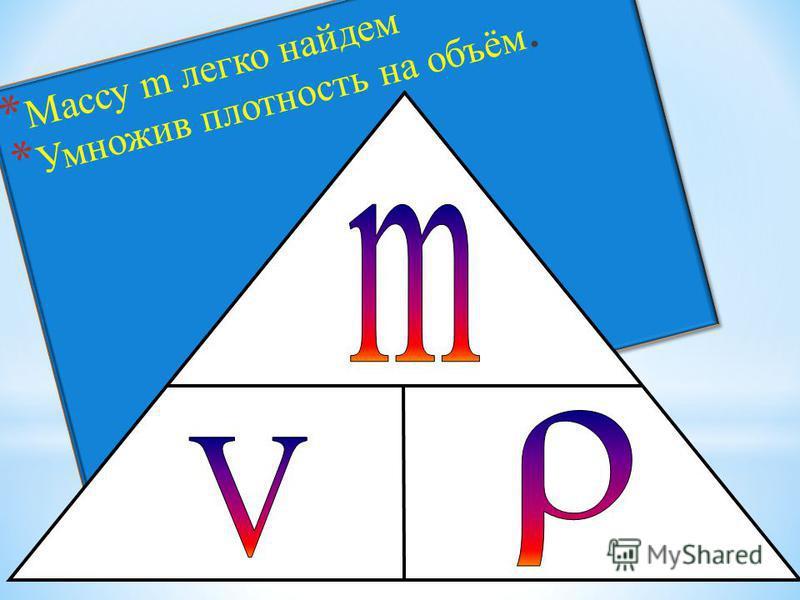 * Массу m легко найдем * Умножив плотность на объём. * Массу m легко найдем * Умножив плотность на объём.