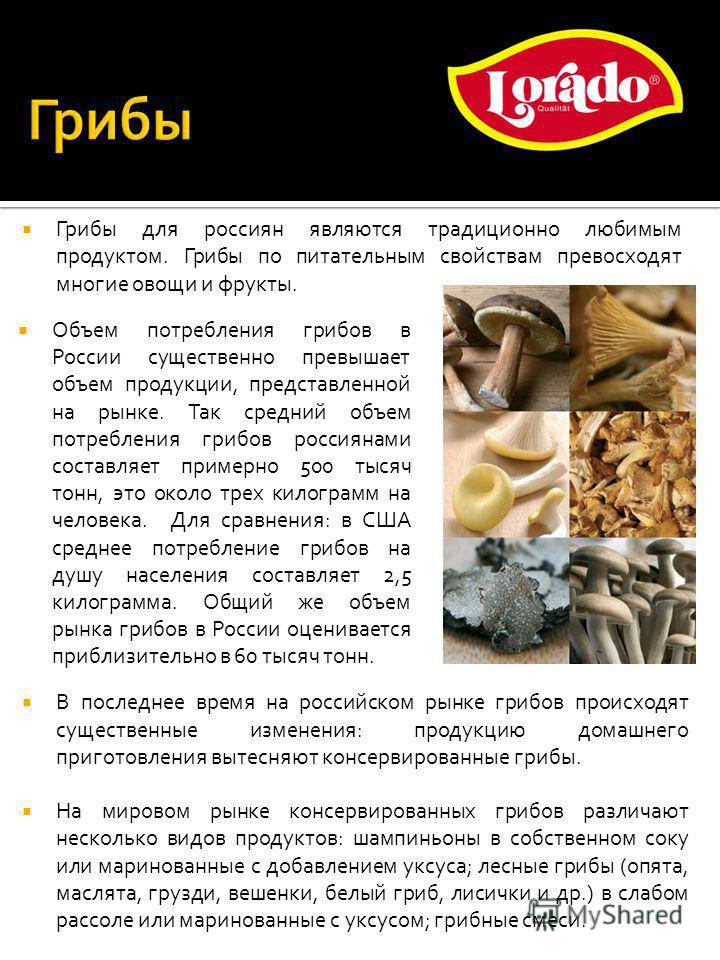 Объем потребления грибов в России существенно превышает объем продукции, представленной на рынке. Так средний объем потребления грибов россиянами составляет примерно 500 тысяч тонн, это около трех килограмм на человека. Для сравнения: в США среднее п