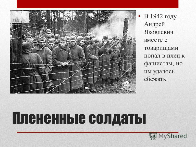 Плененные солдаты В 1942 году Андрей Яковлевич вместе с товарищами попал в плен к фашистам, но им удалось сбежать.