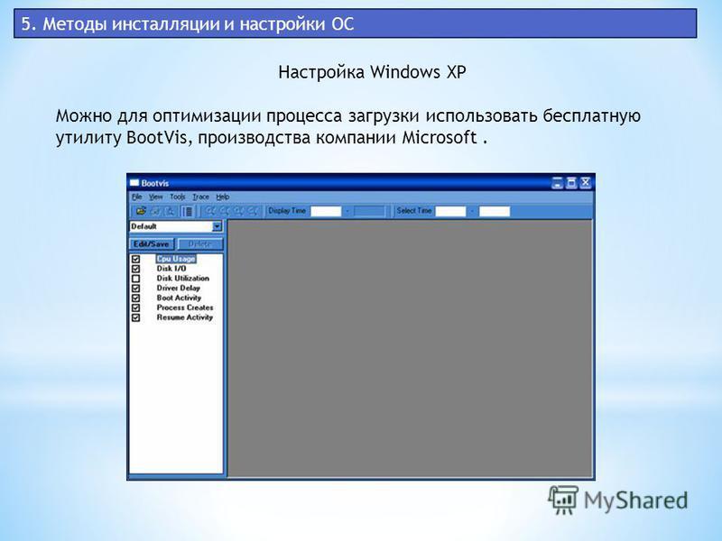 5. Методы инсталляции и настройки ОС Настройка Windows XP Можно для оптимизации процесса загрузки использовать бесплатную утилиту BootVis, производства компании Microsoft.