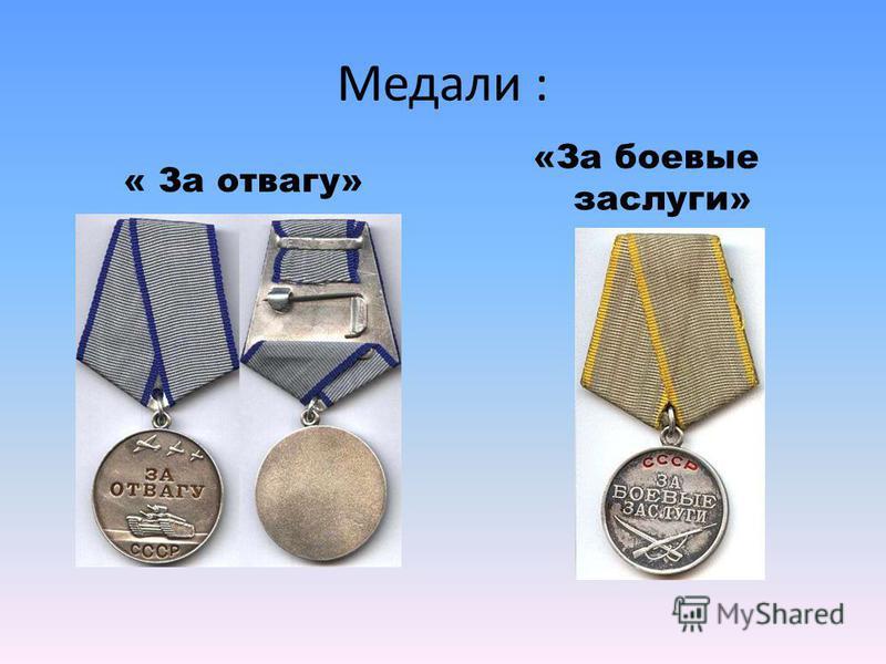 Медали : « За отвагу» «За боевые заслуги»