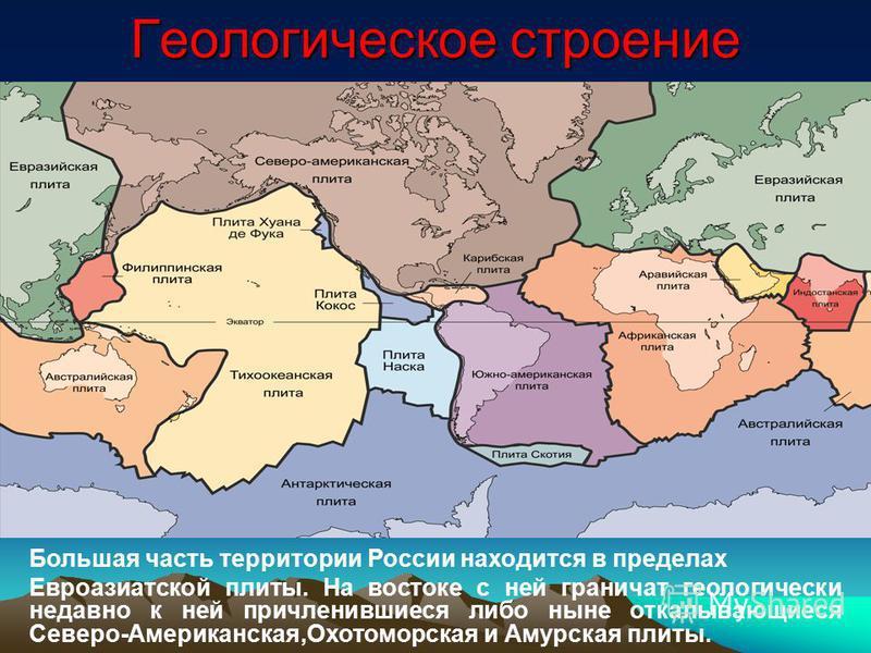 Геологическое строение Большая часть территории России находится в пределах Евроазиатской плиты. На востоке с ней граничат геологически недавно к ней причленившиеся либо ныне откалывающиеся Северо-Американская,Охотоморская и Амурская плиты.