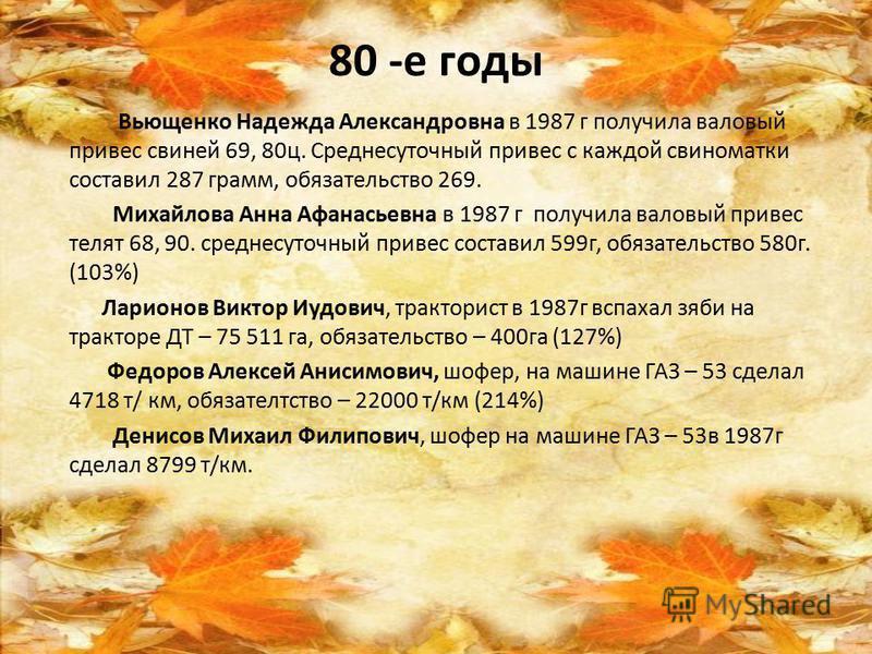 80 -е годы Вьющенко Надежда Александровна в 1987 г получила валовый привес свиней 69, 80 ц. Среднесуточный привес с каждой свиноматки составил 287 грамм, обязательство 269. Михайлова Анна Афанасьевна в 1987 г получила валовый привес телят 68, 90. сре