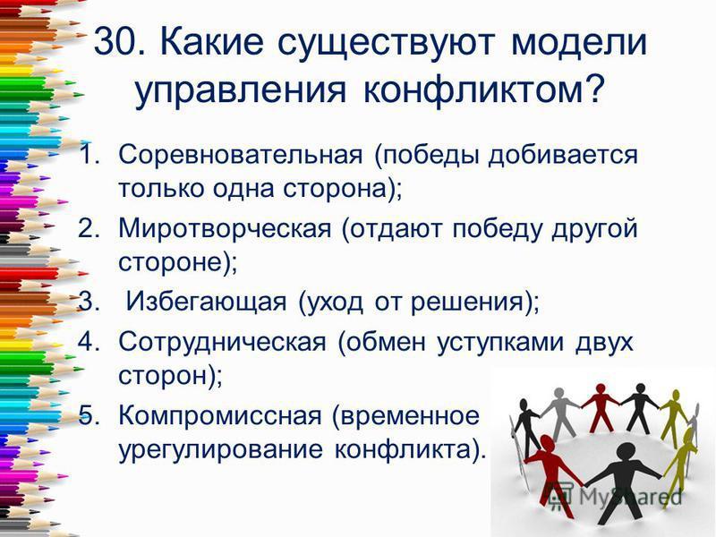 30. Какие существуют модели управления конфликтом? 1. Соревновательная (победы добивается только одна сторона); 2. Миротворческая (отдают победу другой стороне); 3. Избегающая (уход от решения); 4. Сотрудническая (обмен уступками двух сторон); 5. Ком