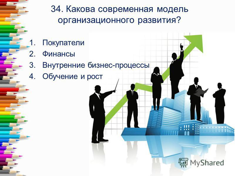 34. Какова современная модель организационного развития? 1. Покупатели 2. Финансы 3. Внутренние бизнес-процессы 4. Обучение и рост