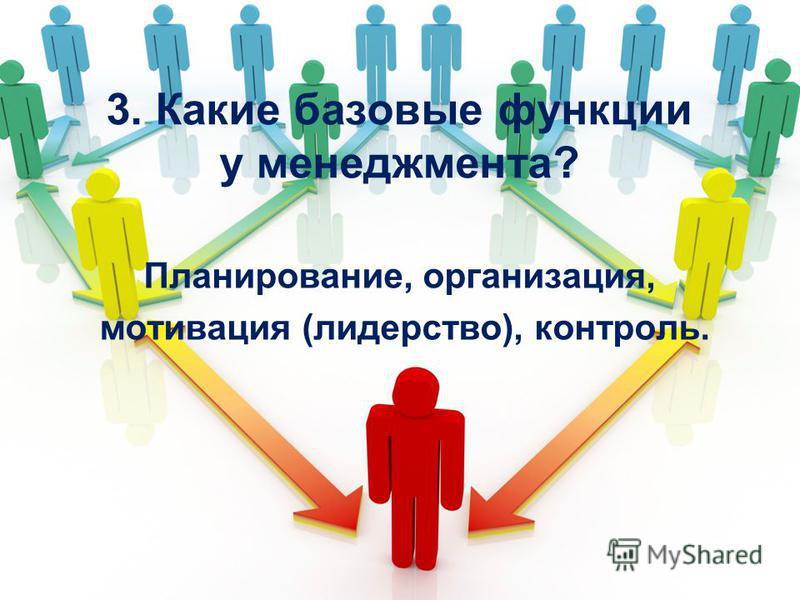 3. Какие базовые функции у менеджмента? Планирование, организация, мотивация (лидерство), контроль.