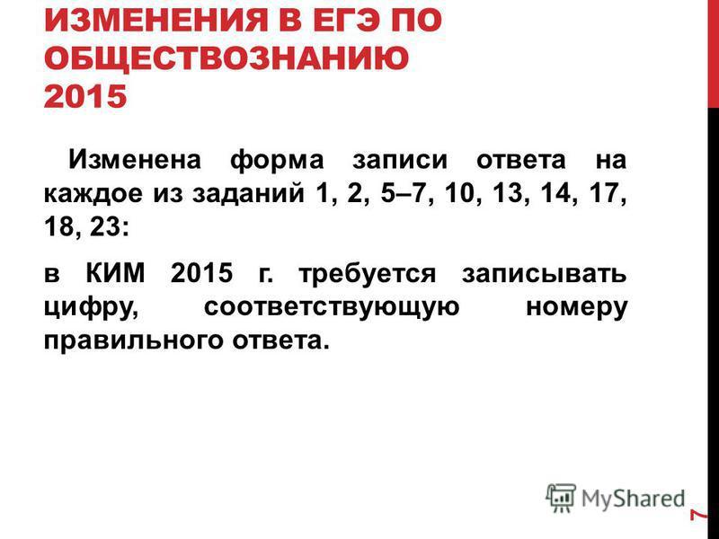 ИЗМЕНЕНИЯ В ЕГЭ ПО ОБЩЕСТВОЗНАНИЮ 2015 Изменена форма записи ответа на каждое из заданий 1, 2, 5–7, 10, 13, 14, 17, 18, 23: в КИМ 2015 г. требуется записывать цифру, соответствующую номеру правильного ответа. 7