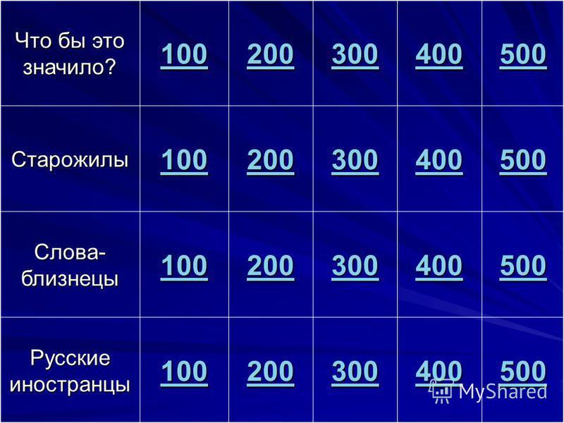 Что бы это значило? 100 200 300 400 500 Старожилы 100 200 300 400 500 Слова- близнецы 100 200 300 400 500 Русские иностранцы 100 200 300 400 500