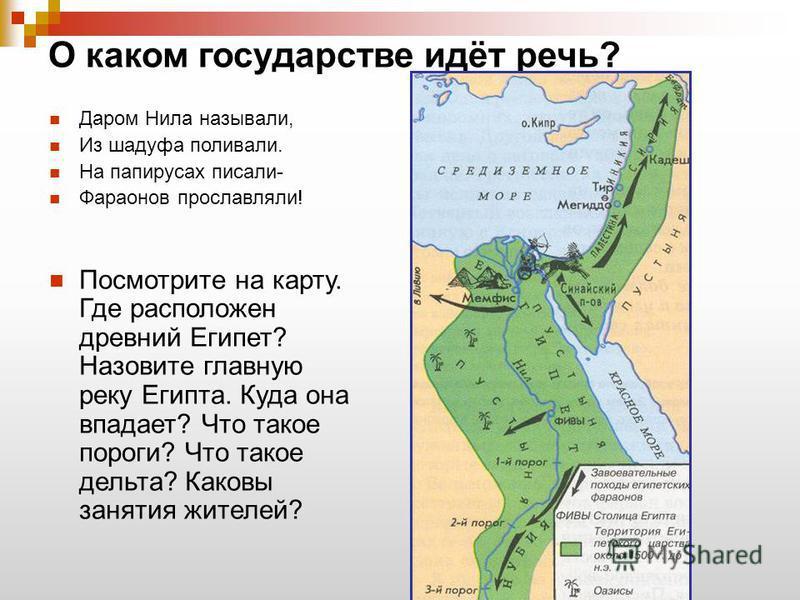 О каком государстве идёт речь? Даром Нила называли, Из шадуфа поливали. На папирусах писали- Фараонов прославляли! Посмотрите на карту. Где расположен древний Египет? Назовите главную реку Египта. Куда она впадает? Что такое пороги? Что такое дельта?