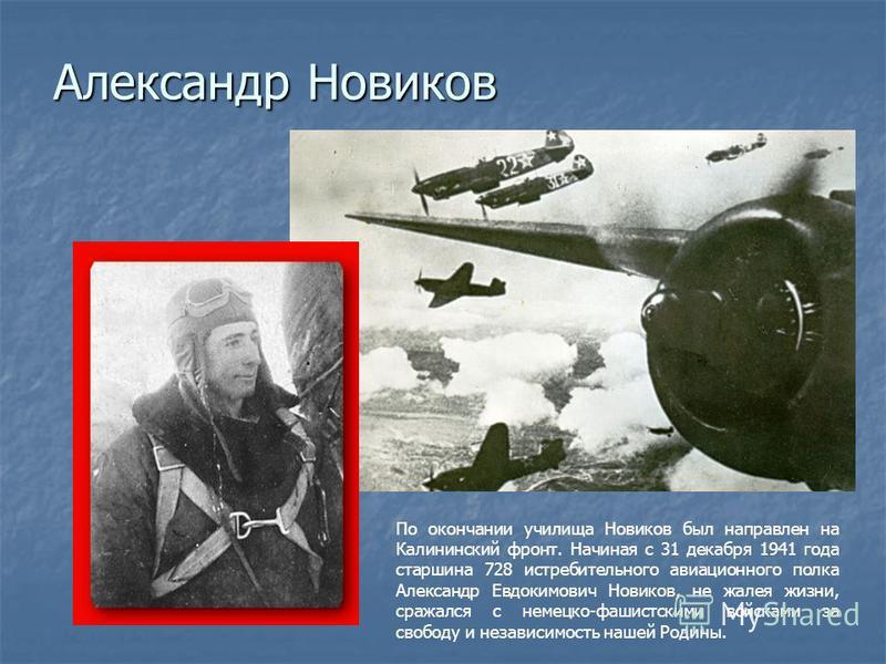 Александр Новиков По окончании училища Новиков был направлен на Калининский фронт. Начиная с 31 декабря 1941 года старшина 728 истребительного авиационного полка Александр Евдокимович Новиков, не жалея жизни, сражался с немецко-фашистскими войсками з