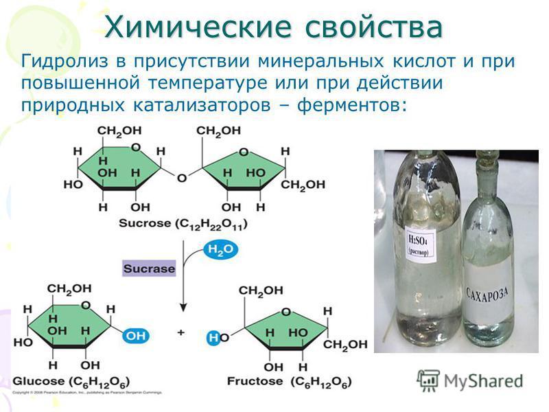 Химические свойства Гидролиз в присутствии минеральных кислот и при повышенной температуре или при действии природных катализаторов – ферментов: