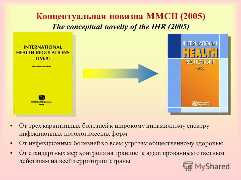 Концептуальная новизна ММСП (2005) The conceptual novelty of the IHR (2005) От трех карантинных болезней к широкому динамичному спектру инфекционных нозологических форм От инфекционных болезней ко всем угрозам общественному здоровью От стандартных ме