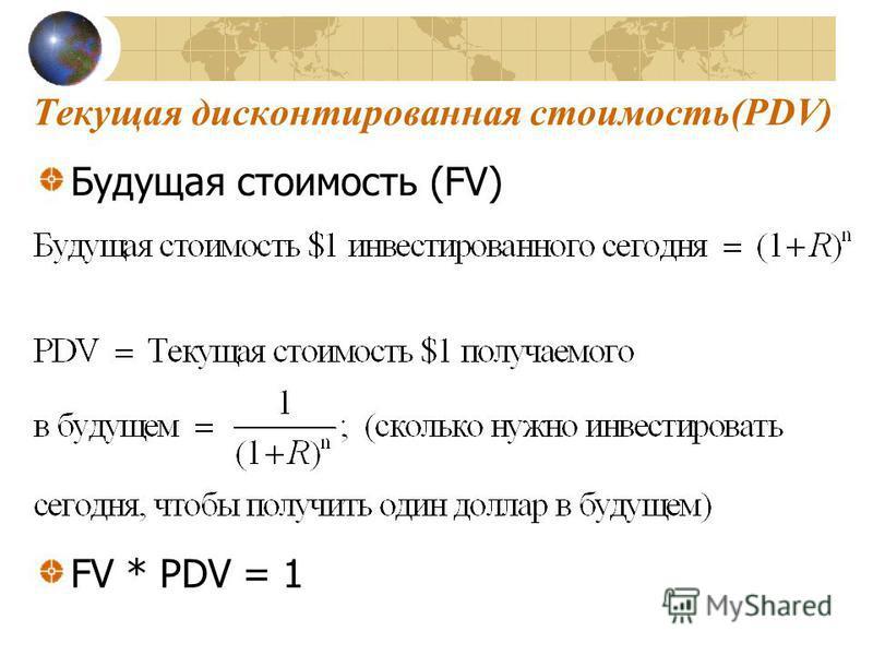 Текущая дисконтированная стоимость(PDV) Будущая стоимость (FV) FV * PDV = 1