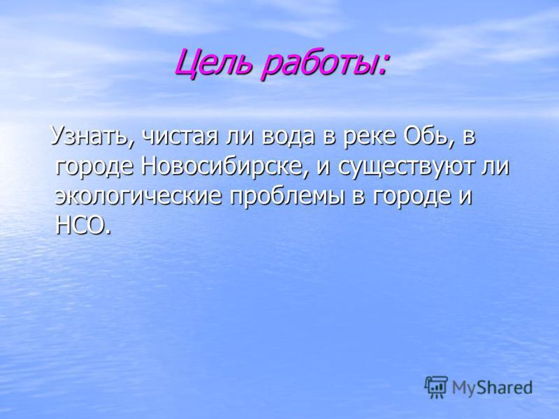 Цель работы: Узнать, чистая ли вода в реке Обь, в городе Новосибирске, и существуют ли экологические проблемы в городе и НСО. Узнать, чистая ли вода в реке Обь, в городе Новосибирске, и существуют ли экологические проблемы в городе и НСО.
