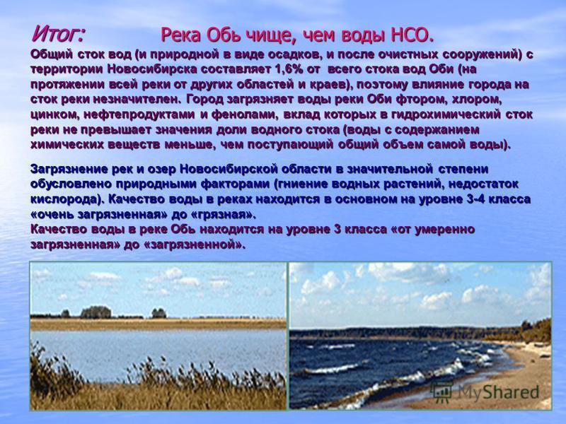 Итог: Река Обь чище, чем воды НСО. Общий сток вод (и природной в виде осадков, и после очистных сооружений) с территории Новосибирска составляет 1,6% от всего стока вод Оби (на протяжении всей реки от других областей и краев), поэтому влияние города